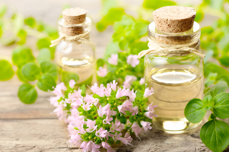 Oregano blossom essential oil and fresh oregano flowers on the wooden board Stock Photo