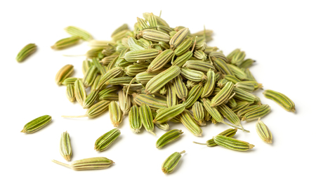 close up of dried fennel seeds isolated on white Stockfoto