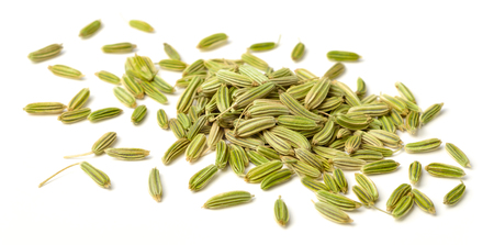close up of dried fennel seeds isolated on white Archivio Fotografico