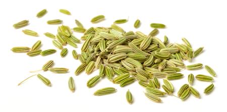 zamknąć suszonych nasion kopru włoskiego samodzielnie na białym tle