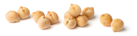 closeup of dried chickpeas isolated on white