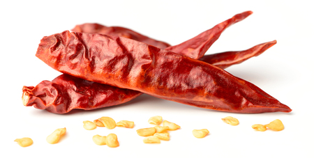 dried red chillies isolated on white 스톡 콘텐츠