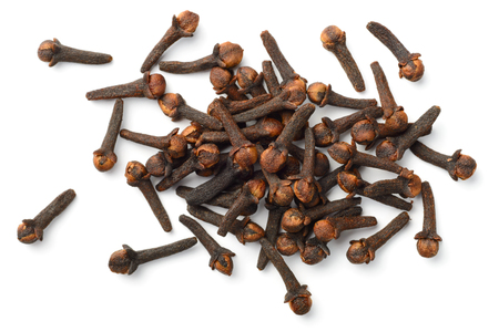 dried cloves isolated on white, top view Standard-Bild