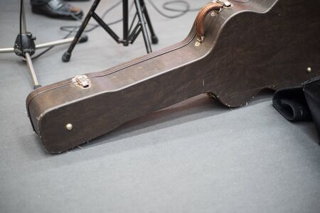 hard case for electric guitar on the stage