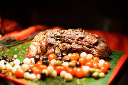 Lamb grilled, Roasted lamb served with grilled organic vegetable