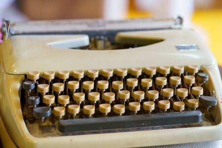 Antique Typewriter. Old vintage typewriter letters keyboard alphabet circles