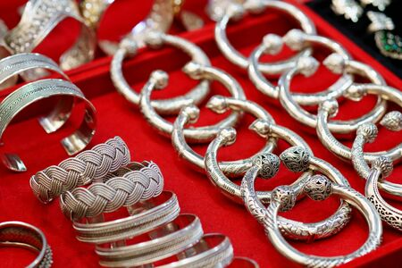 Luxury silver accessories in Thai ancient style with wedding woman