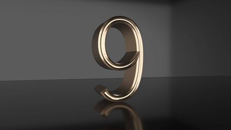 Golden number Countdown from ten to zero 3d render Stok Fotoğraf