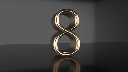 Golden number Countdown from ten to zero 3d render Imagens