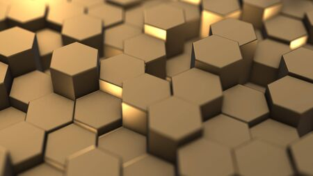 Abstract hexagon geometry background, gold hexagonal pattern randomly waving, animation 3D rendering