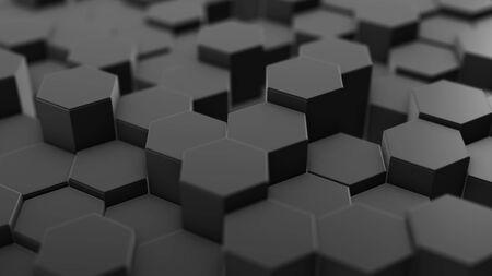 Abstract hexagon geometry background, dark hexagonal pattern randomly waving, animation 3D rendering