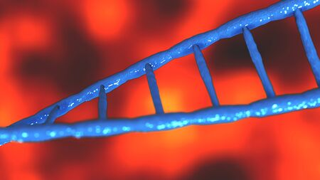 Blue DNA molecules Abstract technology science concept of biochemistry animation 3D rendering Banque d'images - 131341612