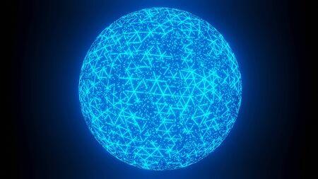 Hologram Global communication network Rotating animation 3D rendering Stok Fotoğraf