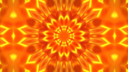 Gold kaleidoscope flower patterns, Abstract background animation 3D rendering Imagens