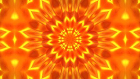 Patrones de flores de caleidoscopio de oro, renderizado 3d de animación de fondo abstracto