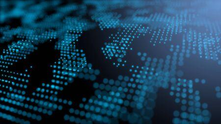 Blue futuristic stream Data Communication flying into digital technologic animation 3D rendering Banco de Imagens