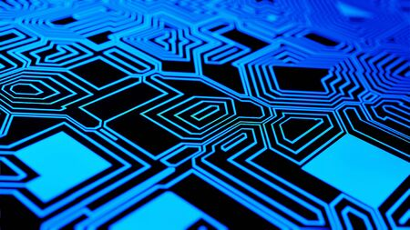 Digital circuit board futuristic communication concept for technology electronics background animation 3D rendering Stok Fotoğraf
