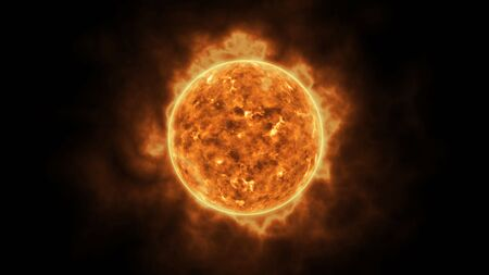 Sun star surface with solar flares, burning of sun animation 3D rendering