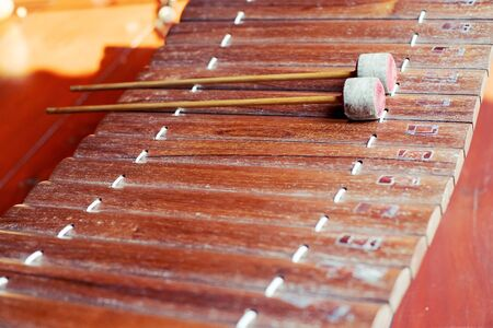 Ancient Traditional Thai Wooden musical instruments close up Stok Fotoğraf