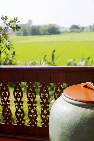 Thai traditional green water tank, glazed water jar