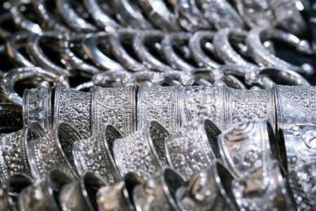 Beautiful vintage silver belts pattern detailed thai style fashion close up