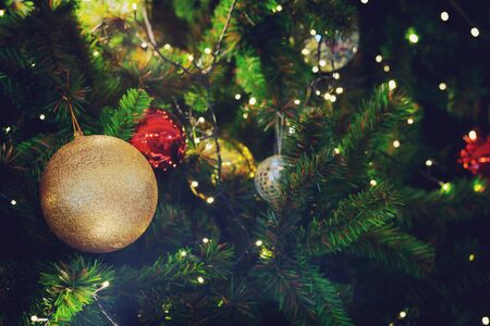 CLOSE UP OF beautiful Decorated Christmas tree background