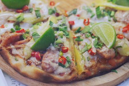 Hot and spicy Thai style pizza Background, thai Street food market
