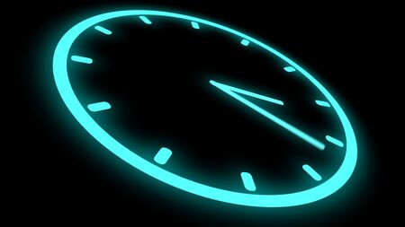 Fast moving clock Neon bright glowing spinning animation 3D rendering