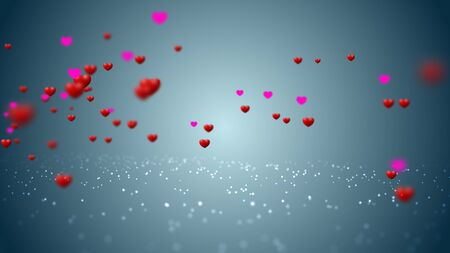 Sweet Red Hearth flying, love Valentines day animation background 3D rendering