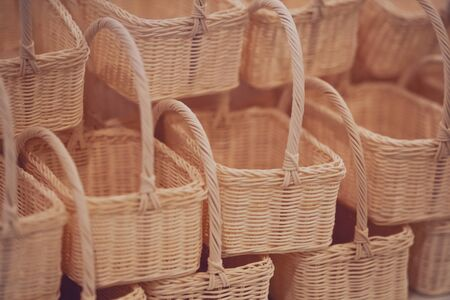 Close up of Wicker basket texture background Фото со стока