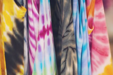 Close up of colorful tie dye batik fabric texture background