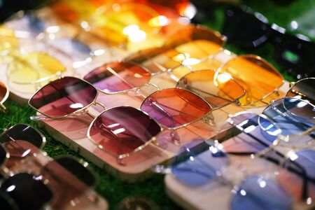 Close up of colorful sunglasses summer sun protection