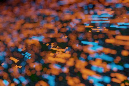 Blurred Futuristic Stream Data Communication Flying bokeh light 3d rendering