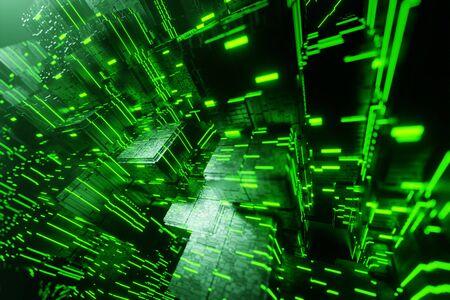 Sci-fi city futuristic stream Data Communication flying into digital technologic tunnel animation 3D rendering