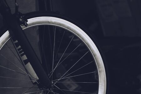 Black and white Close up of details Front Bicycle wheel spokes. Imagens