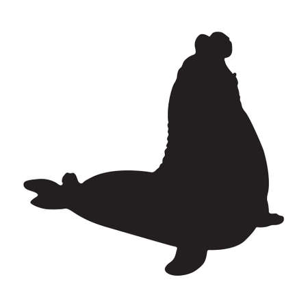 Elephant Seal (Mirounga) Silhouette Vector Found In Antartic Waters