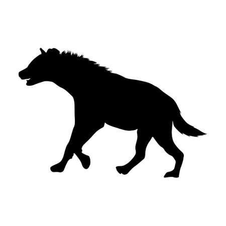 Standing Hyena Silhouette (Crocuta Crocuta) On a Side View Silhouette Found In Map Of African, Middle Eastern And Asian. Good To Use For Element Print Book, Animal Book and Animal Content