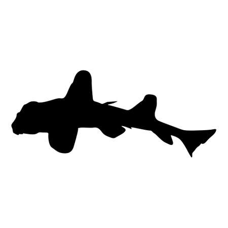 Swimming Horn Shark (Heterodontus Francisci) On a Side View Silhouette Found In Map Of North And West America. Good To Use For Element Print Book, Animal Book and Animal Content