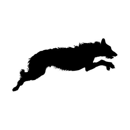 Jumping Irish Wolfhound On a Side View Silhouette Found In Ireland. Good To Use For Element Print Book, Animal Book and Animal Content