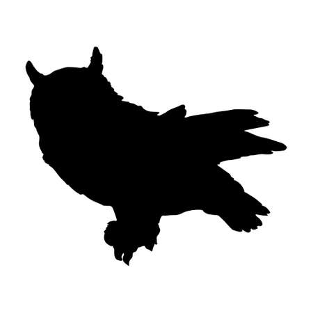 Standing Long Eared Owl Bird (Casuarius) On a Side View Silhouette Found In Map Of Asia, Eurasia, Europe And North America. Good To Use For Element Print Book, Animal Book and Animal Content