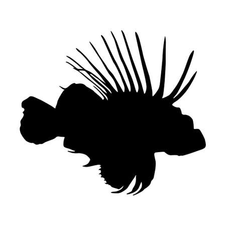 Swimming Lionfish (Pterois Volitans) On a Side View Silhouette Found In Map Of Western and Central Pacific Ocean. Good To Use For Element Print Book, Animal Book and Animal Content Vektorgrafik