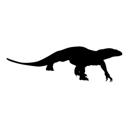 Walking Monitor Lizard (Varanus Indicus) On a Side View Silhouette Found In Map Of Africa, Asia And Oceania. Good To Use For Element Print Book, Animal Book and Animal Content