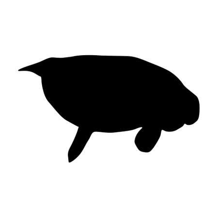 Swimming Manatee vector on white