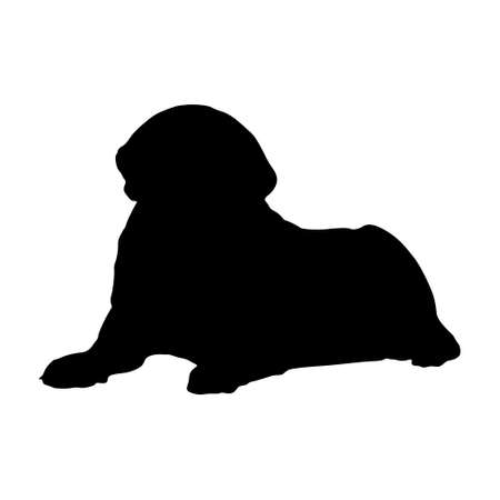 Sitting Mastiff Dog (Canis Lupus) On a Front View Silhouette Found In Map Of Europe. Good To Use For Element Print Book, Animal Book and Animal Content