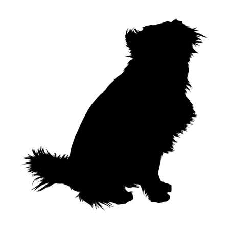 Sitting Mongrel Dog vector on white 矢量图像