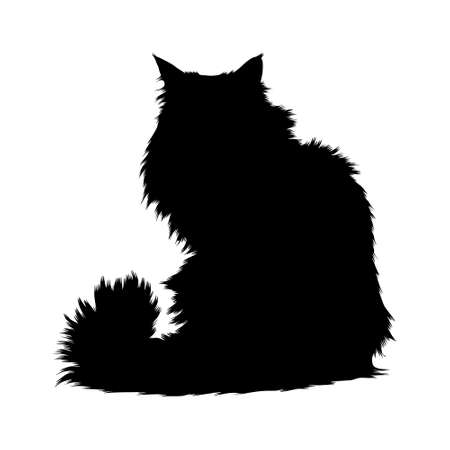 Norwegian Forest Cat (Felis Catus)  Sitting On a Front View Silhouette Found In Map Of Europe.