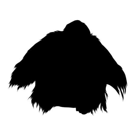 Orangutan (Pongo pygmaeus) Sitting On a Front View Silhouette Found In Map Of Asia. Good To Use For Element Print Book, Animal Book and Animal Content