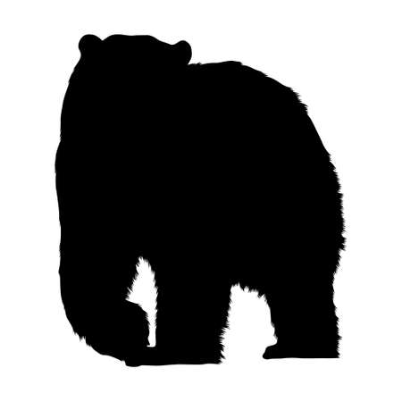 Polar Bear (Ursus maritimus) Standing On a Front View Silhouette Found In Map Of Eurasia,Europe And North America Ocean. Good To Use For Element Print Book, Animal Book and Animal Content