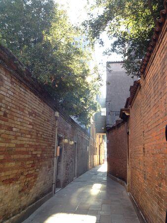 Narrow Venetian Brick Walkway  Stock fotó