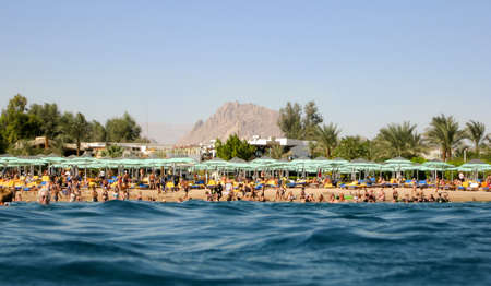 naama bay: Beach of Naama Bay Sharm el-Sheikh, as seen from the sea